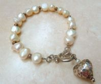 Sterling Silver Heart And Freshwater Pearl Bracelet.